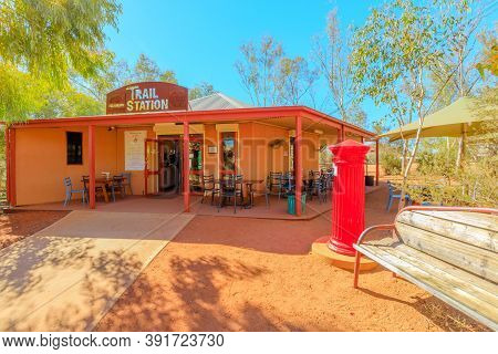 Alice Springs, Northern Territory, Australia - Aug 14, 2019: Alice Springs Telegraph Station With Re
