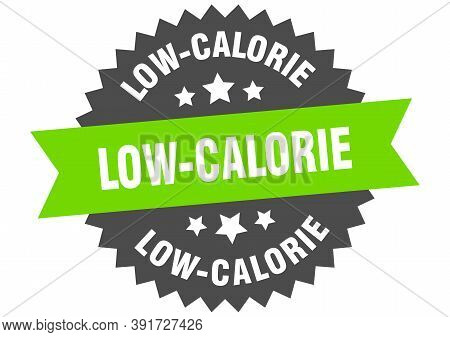 Low-calorie Round Isolated Ribbon Label. Low-calorie Sign