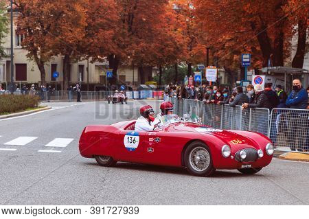 Brescia - Italy. October 22, 2020: The Historic Mille Miglia Car Race. First Bend Of Races In The Ce