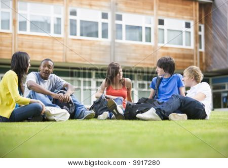 Five students sitting outdoors on lawn talking poster