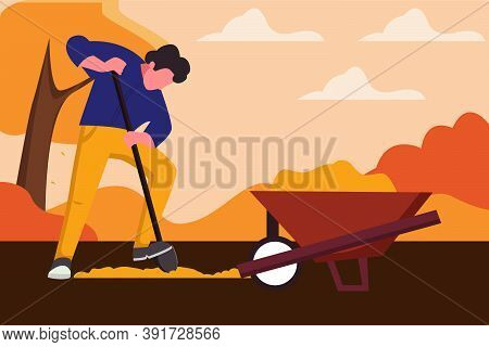 Man Digging Hole On The Ground.farmer Digging Hold On The Ground. The Cart With Earth, Autumn Landsc