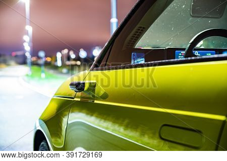 Prague, Czech Republic - October 26, 2020. Night Photo Of Side Camera Of Side Mirror In Honda E