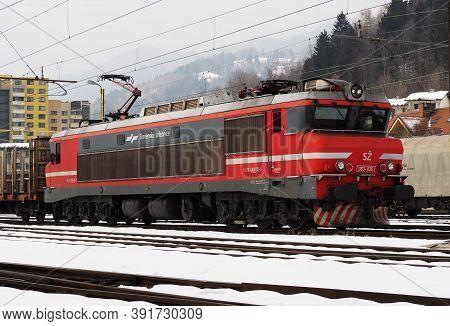 Jesenice, Slovenia - March 2 2018: Slovenian Railways Class 363 Ready To Depart Jesenice On A Winter