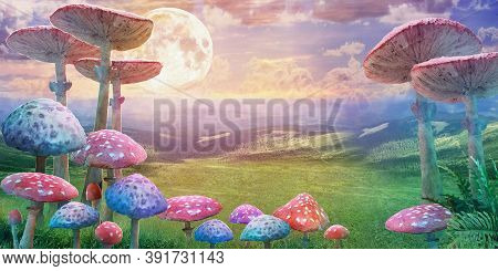 Fantastic Wonderland Landscape With Mushrooms And Moon. Illustration To The Fairy Tale