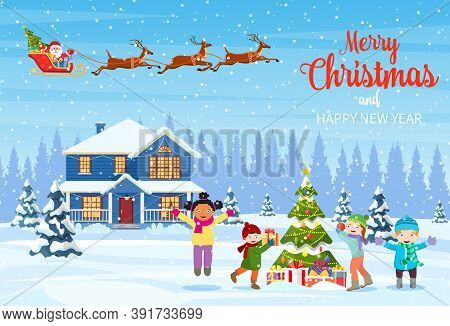Happy New Year And Merry Christmas Greeting Card. Christmas Landscape. Kids Decorating A Christmas T
