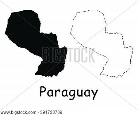 Paraguay Country Map. Black Silhouette And Outline Isolated On White Background. Eps Vector