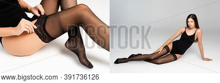 Collage Of Woman Lying In Black Bodysuit And Stockings, Touching Lace Of Stocking