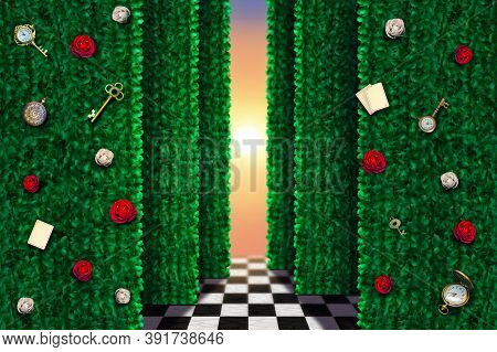 Beautiful Wonderland Green Background With Red Roses And White Roses, Keys, Clock And Cards