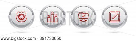 Set Line Police Badge, Ranking Star, Ftp Operation Successful And Open New Window. Silver Circle But