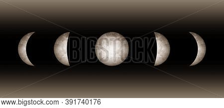 Moon Phases Astronomy Realistic Image On Black Background. Vector Illustration Of Cycle From New To