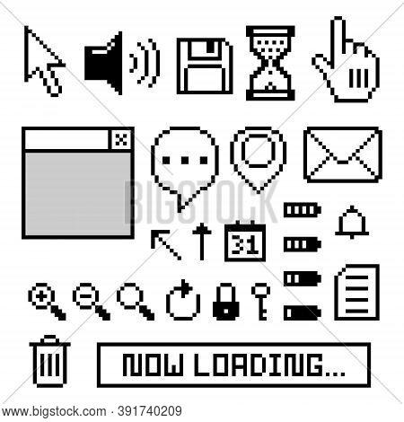 Collection Set Of Retro Game 8 Bit Pixel Icon Symbol, Black And White Color, Flat Design Vector Illu