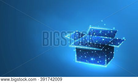 Cargo Box. Low Poly, Wireframe 3d Vector Illustration. Abstract Polygonal Image On A Blue Neon Backg