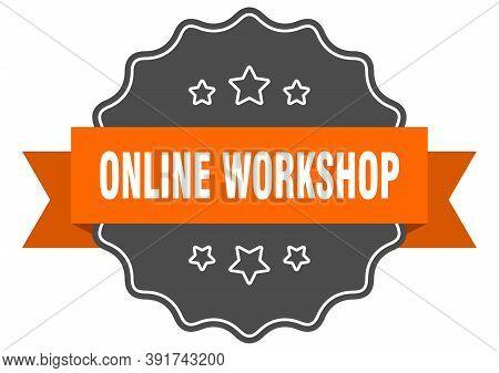 Online Workshop Label. Online Workshop Isolated Seal. Sticker. Sign