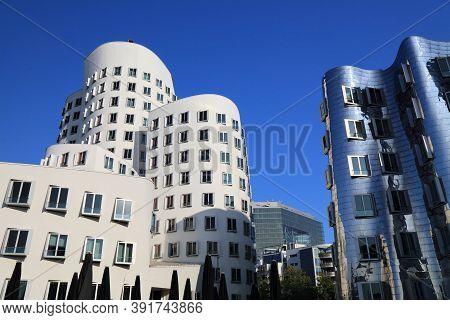 Dusseldorf, Germany - September 19, 2020: Neuer Zollhof Modern Architecture In Dusseldorf, Germany.