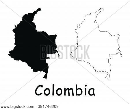 Colombia Country Map. Black Silhouette And Outline Isolated On White Background. Eps Vector