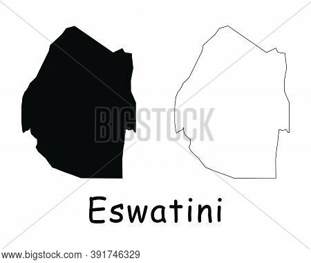 Eswatini Country Map. Black Silhouette And Outline Isolated On White Background. Eps Vector