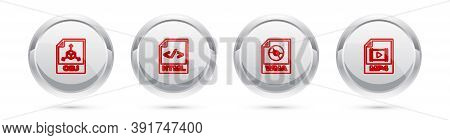 Set Line Obj File Document, Html, Wma And Mp4. Silver Circle Button. Vector