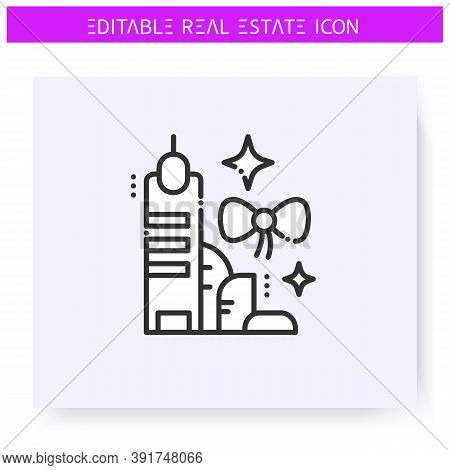 New Building Line Icon.buying An Office Or Apartment In A Modern Skyscraper.real Estate Agency, Hous
