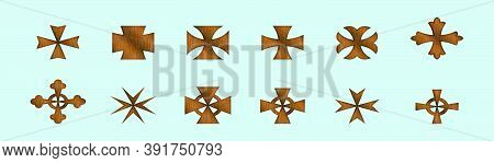 Set Of Maltese Cross Cartoon Icon Design Template With Various Models. Vector Illustration Isolated