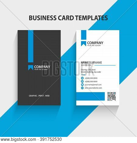 Modern Vertical Double-sided Business Card Template. Stationery Design, Flat Design, Print Template,