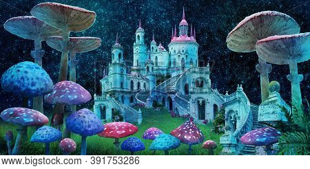 Fantastic Wonderland Landscape With Mushrooms, Beautiful Old Castle And Moon.