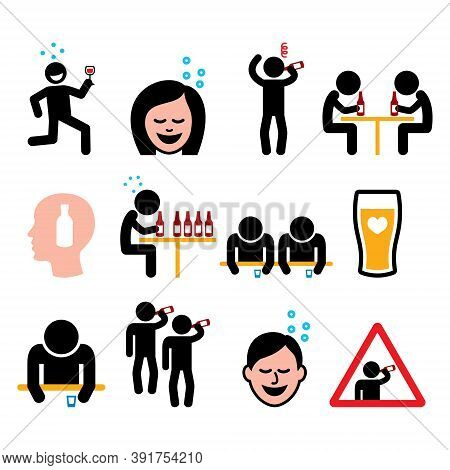 Drunk Man And Woman, People Drinking Alcohol Color Icon Set - Alcohol Abuse Problem
