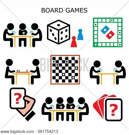 Board Games, Cards, Chess Or Draughts At The Table Vector Color Icons Set, Fun Activity While Stayin