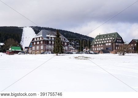 Piste With Unrecognizable People Skiing, Snow, Sunny Winter Day, Horni Mala Upa, Krkonose Mountains,