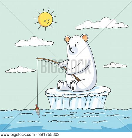 Polar Bear At Fishing. Hand Drawn Vector Illustration With Separate Layers.