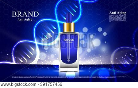 Cosmetics Anti Aging Ads With Dna And Blue Background