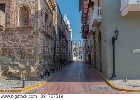 Panama City, Panama-march 03, 2019: Beautiful Building Facades In The Historic Old Town, Casco Viejo