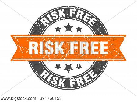 Risk Free Round Stamp With Ribbon. Label Sign
