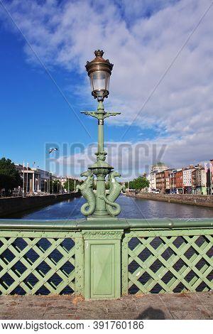 Dublin, Ireland - 03 Aug 2013: The Lamp On The Bridge In The Center Of Dublin, Ireland
