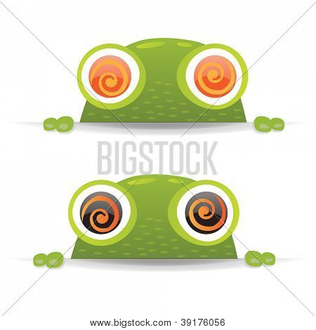 2 Hypno Frogs With Gradient Mesh, Vector Illustration