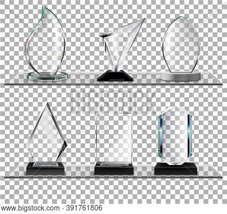 Glass Awards On Glass Shelves On Transparent Background Vector Illustration