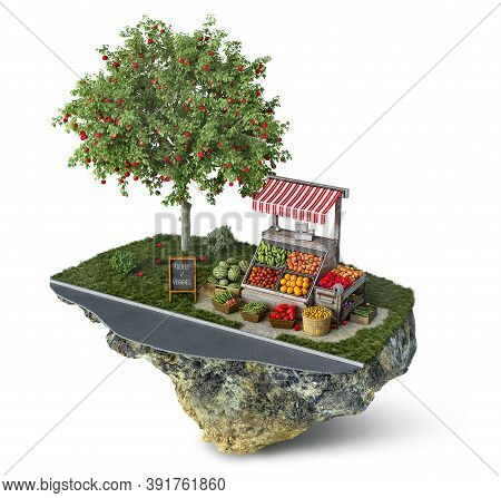 Fruits And Veggies Stall Near The Road And Apple Tree On A Small Isolated Isle, 3d Illustration