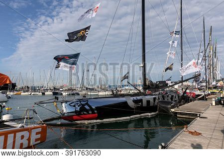 Les Sables D'olonne, France - October 19, 2020: Jeremy Beyou Boat (charal) On The Vendee Globe 2020