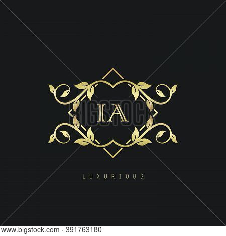 Classic Vintage Letter I, A, Ia Logo. Vector Logo Design Concept Classic Vintage With Nature Leaves.