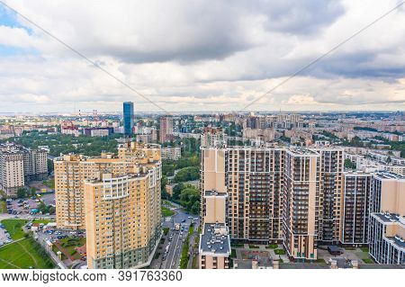 Aerial Drone View O City Skyline Panorama, Density Living Suburbia. High Rise Residential District G