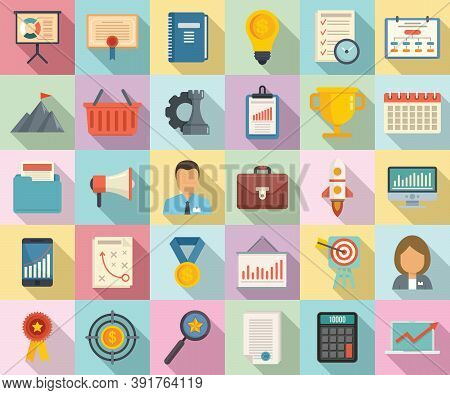 Product Manager Icons Set. Flat Set Of Product Manager Vector Icons For Web Design