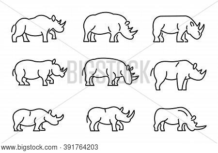 Rhino Icons Set. Outline Set Of Rhino Vector Icons For Web Design Isolated On White Background