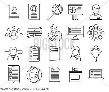 Sociology School Icons Set. Outline Set Of Sociology School Vector Icons For Web Design Isolated On