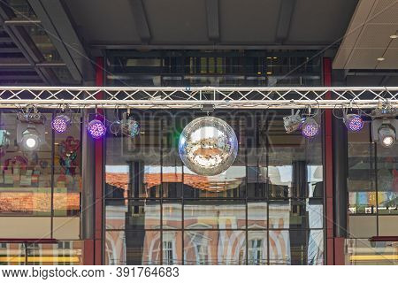 Disco Ball With Led Lights At Temporary Stage