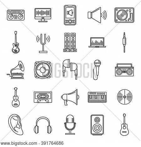 Acoustics Audio Icons Set. Outline Set Of Acoustics Audio Vector Icons For Web Design Isolated On Wh
