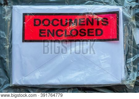 Documents Enclosed Red Sign At Package Mail