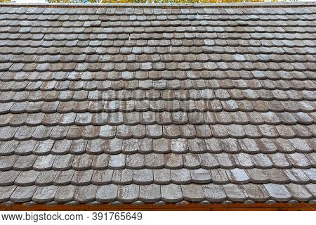 Wooden Roof Tiles At Old Church Building