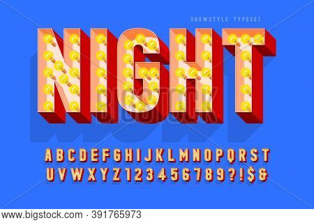 Retro Cinema Font Design, Cabaret, Lamps Letters And Numbers.