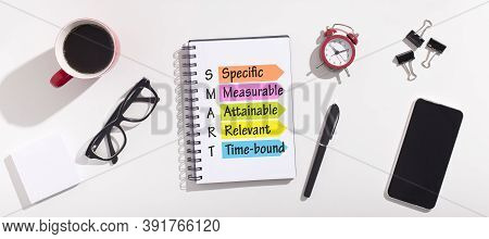 Goals Setting And Planning. Acronym Of Word Smart Made Of Words Specific And Measurable, Attainable,