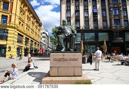 Oslo, Norway - 27 Jun 2012: The Statue On Karl Johans Street, Oslo, Norway