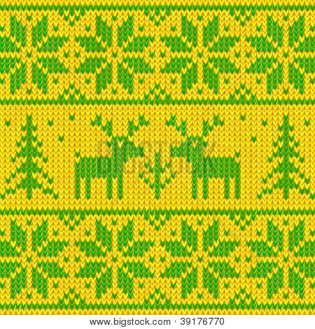 Green and yellow sweater with deer ornament